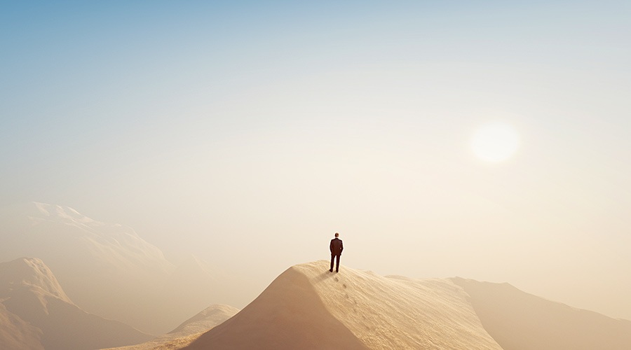 Man Alone in Hot Desert